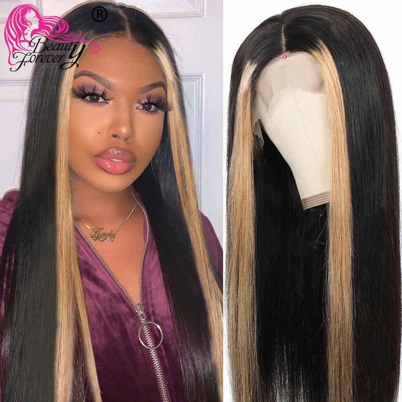 Beauty Forever 13*4 koronki przodu peruki wstępnie oskubane brazylijski wyróżnij prosto Remy ludzki włos peruki 8-24 cal 150% 180% gęstości