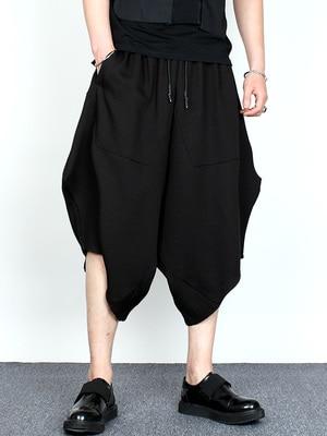 Original dark summer men's hair stylist loose cotton and linen eight-point harem pants fashion irregular casual trousers