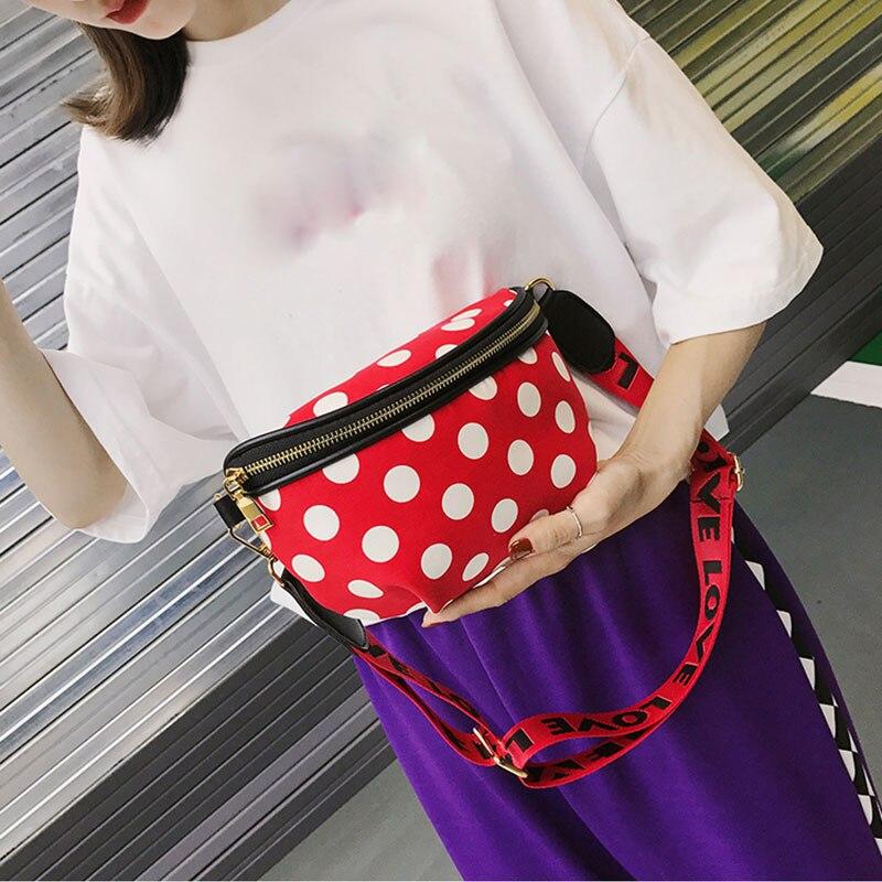Women Canvas Waist Bags Fashion Printed Fanny Pack Mini Casual Travel Chest Bag Cute Girl Belly Belt Bag Female Purse Phone Pack
