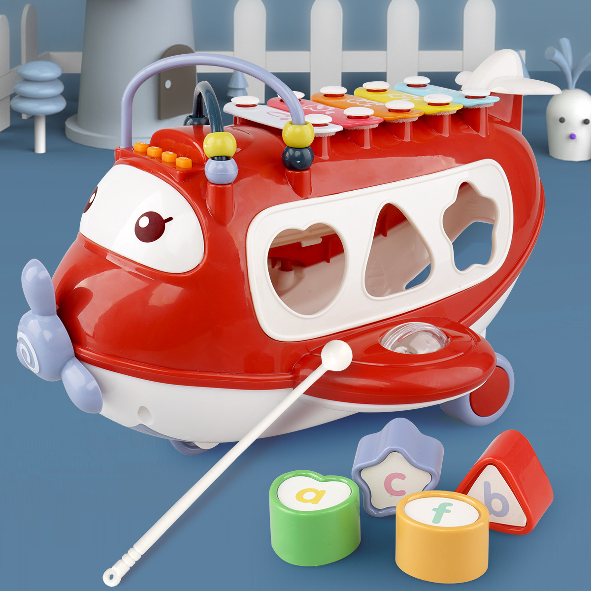 New Style Children Early Education Toy Multi-functional Knock Piano Airplane Building Blocks Bead-stringing Toy Story Music Educ