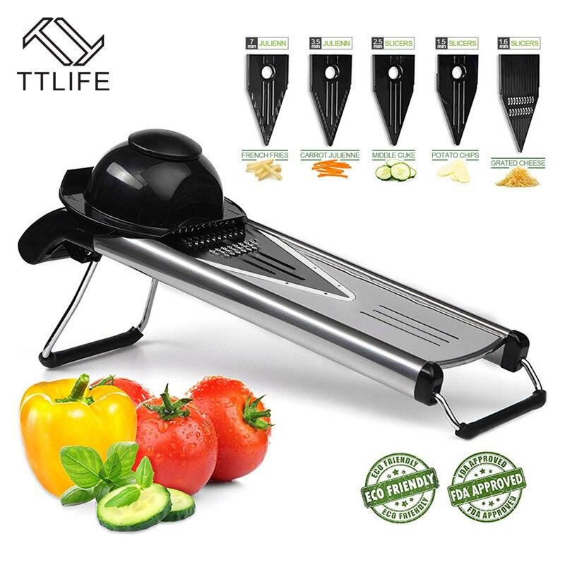 TTLIFE Manual Mandoline Slicer Multi-function Vegetable Cutter Set with 5 Blade Potato Carrot Cutter Peeler Vegetable Salad Tool