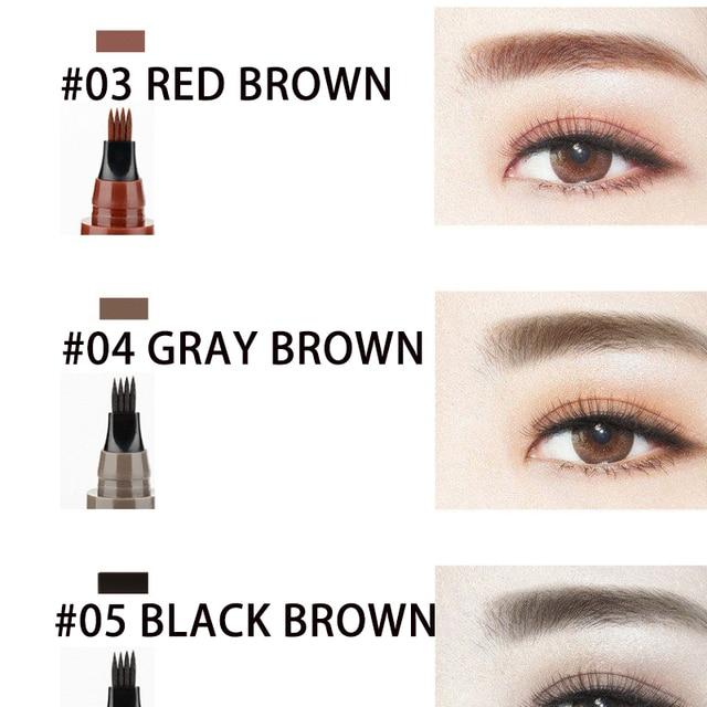 Microblading Eyebrow Pencil Tint 4 Tip Liquid Brow Tattoo Pen 5 Colors Paint Makeup Eyebrows Waterproof Cosmetic Eye brow Liner 2