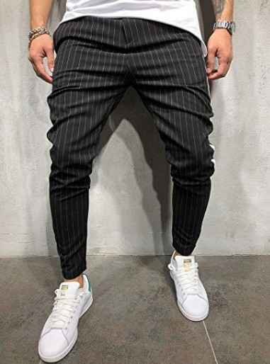 AliExpress Europe And America Men Slim Fit Cool Casual Sports Stripes Trousers Elastic Waist Skinny Pants