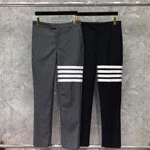 2021 Fashion TB THOM Brand Pants Men Casual Suit Pants Men's Business Striped Spring And Autumn Straight Formal Trousers Ins