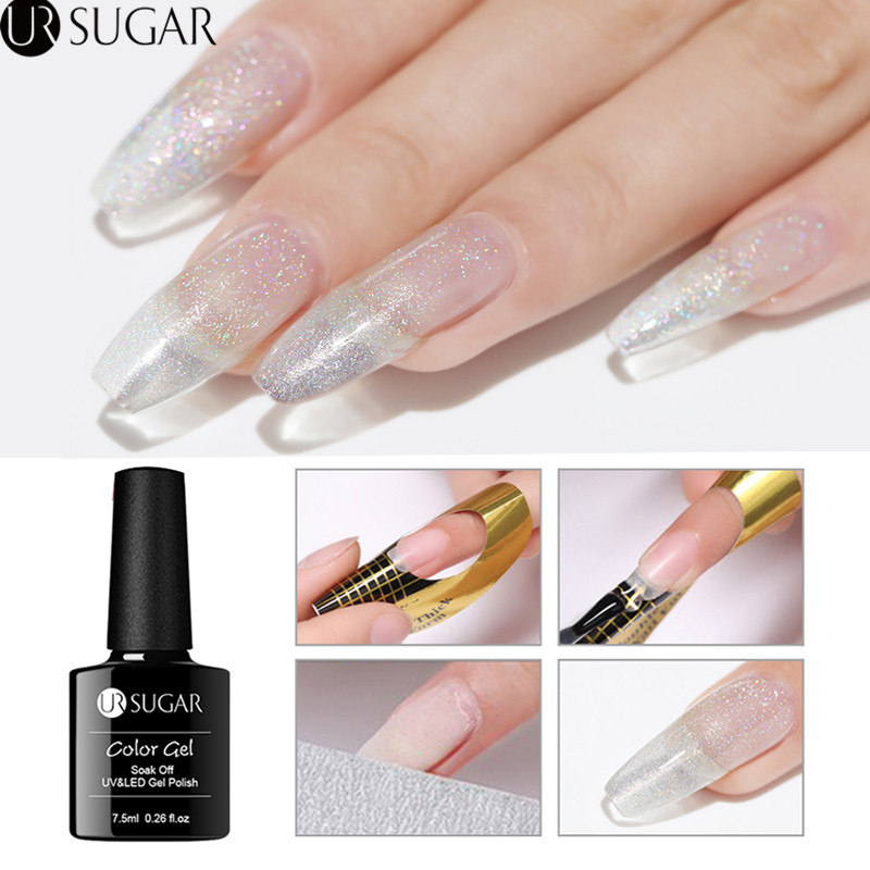 UR SUGAR 7 5ml Quick Extension Gel Holographic Glitter Acrylic Poly UV Gel Finger Building Clear Soak Off UV Gel Nail Art in Nail Gel from Beauty Health