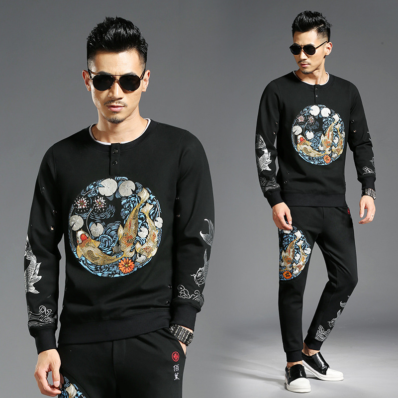 Tao Bai Ye Autumn And Winter Chinese-style Carp Printed Hoodie Casual Pants Two-Piece Set MEN'S Suit 2832/K832