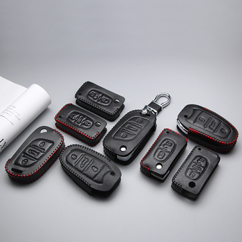 Genuine Leather Car Key Case Cover For Peugeot 307 206 207 407 308 301 3008 406 408 Anti-wear Protective Key Shell Car Styling image