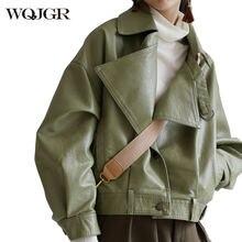 Wqjgr pu куртка весна осень свободная кожаная с рукавом летучая
