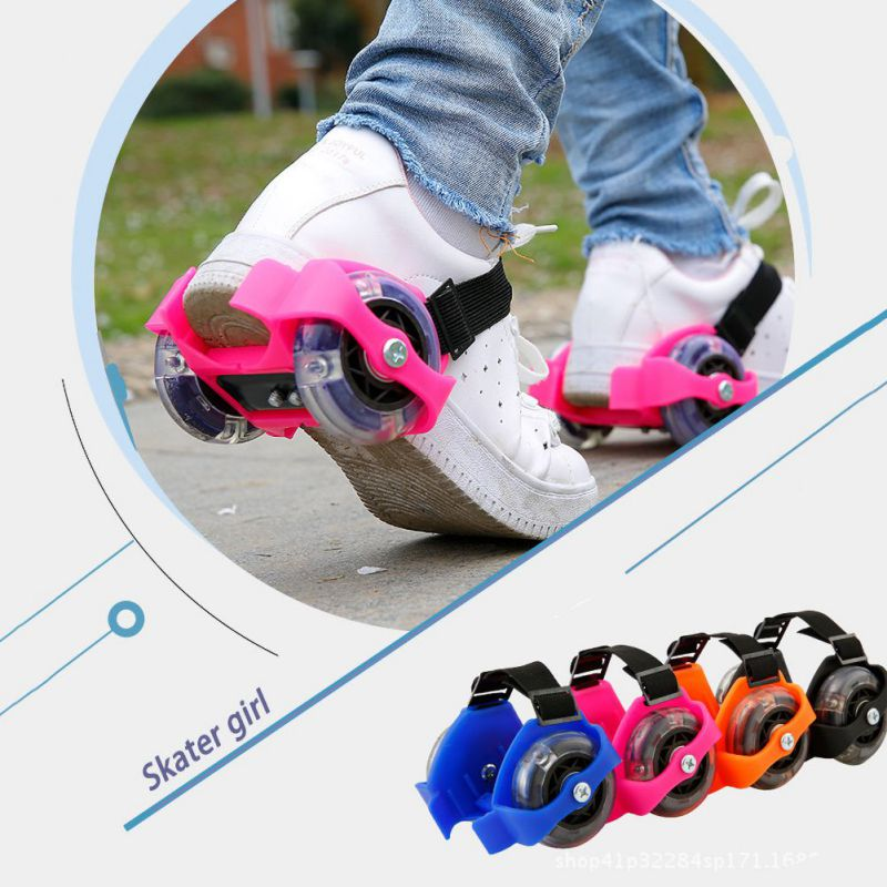 Children Interesting Wheel Heel Roller Skate Shoe Adjustable Colorful Flashing Roller High Quality Whirlwind Pulley Flash Wheels