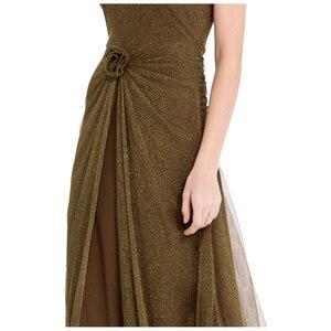 Image 5 - エンジェルファッションワンショルダープリーツシャーリングスパンコールスリットロングイブニングドレス 350 429
