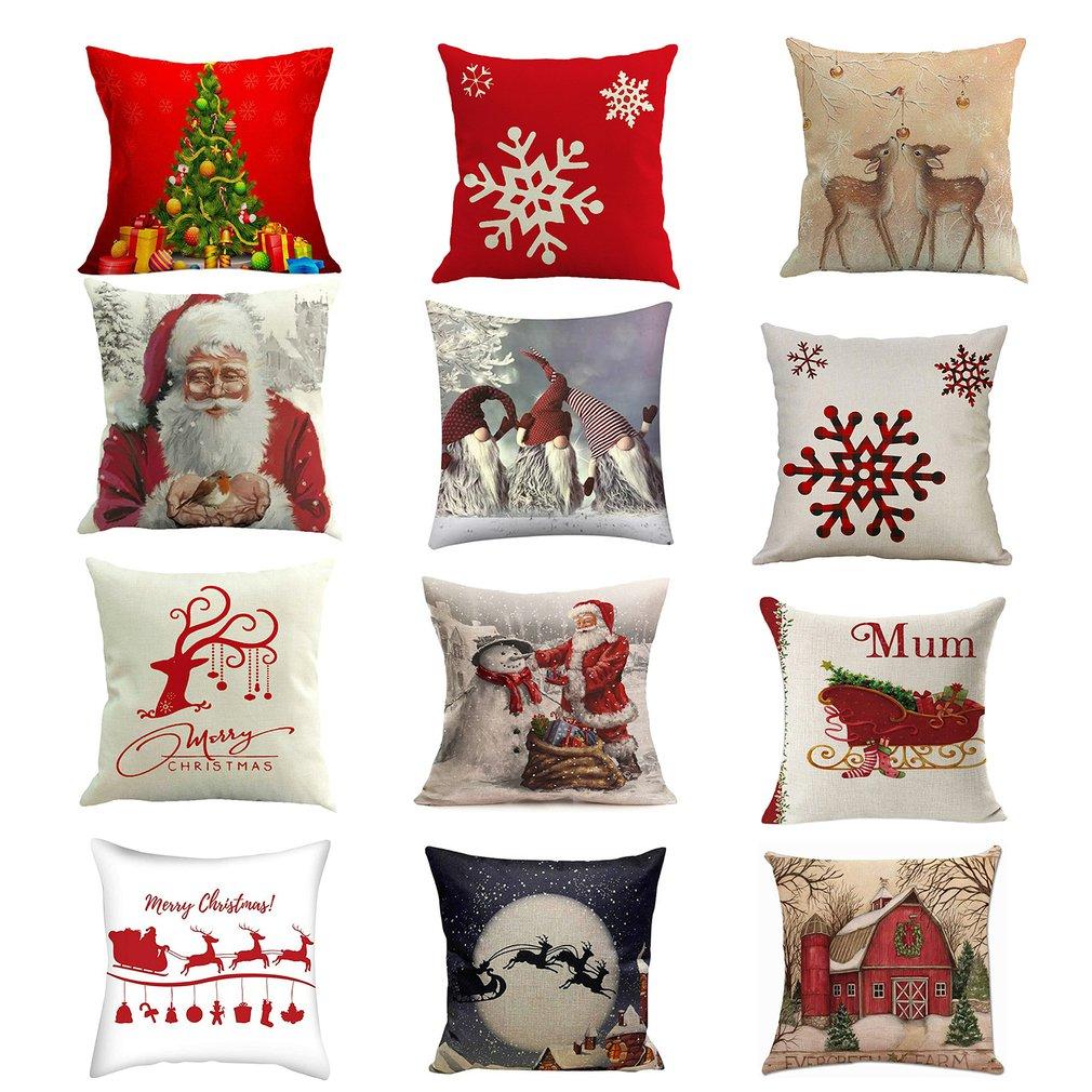 Christmas Cushion Covers Set of 4 Cotton Linen Print Cushion Covers Decorative Cushion Cover for Sofa Office 45 x 45 cm