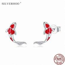 Silverhoo peixe vermelho esmalte brincos para mulher real 925 prata esterlina sorte koi orelha studs na moda jóias de prata brinco