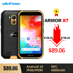 Прочный водонепроницаемый смартфон Ulefone Armor X7, Android 10, 5,0 дюйма, 2 ГБ 16 ГБ, IP68/IP69K четыре ядра, 4000 мАч, NFC, 4G LTE мобильный телефон