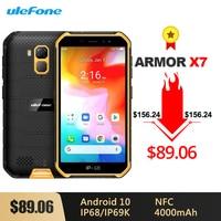 Ulefone Armor X7 Android 10 Rugged Waterproof Smartphone 5.0 inch 2GB 16GB IP68/IP69K Quad core 4000mAh NFC 4G LTE Mobile Phone