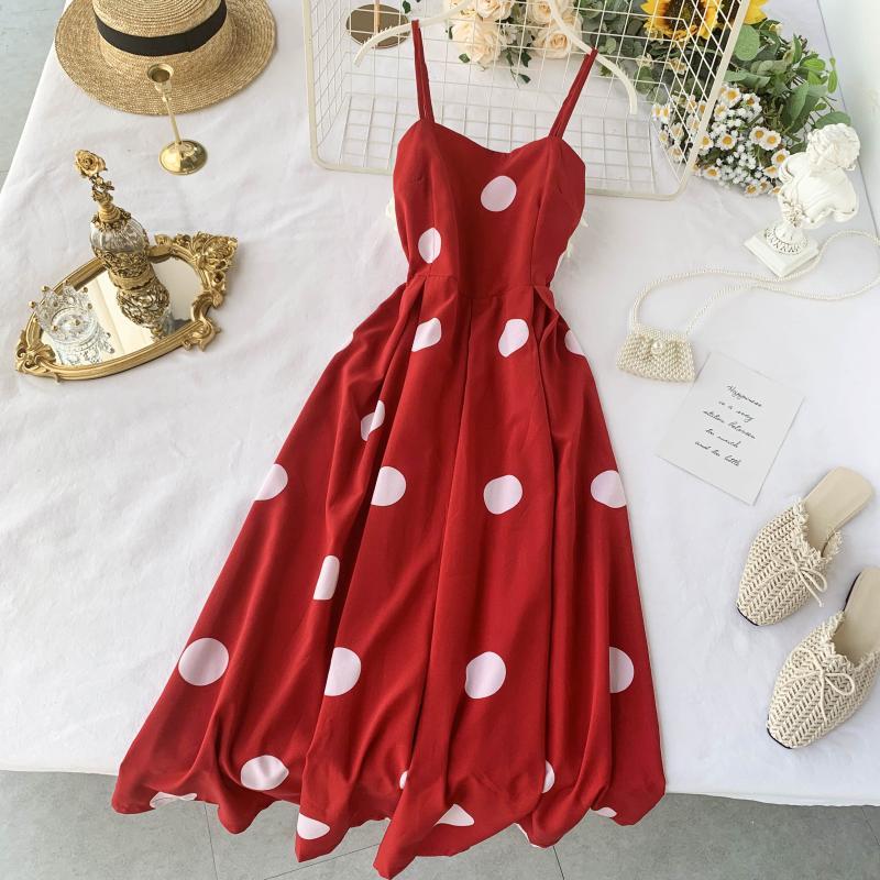 Summer Women Dress Slash Neck Spaghetti Strap Knee-length Dresses Elegant Dot Point Chic Dress 2020 Korean A-line Fashion Dress