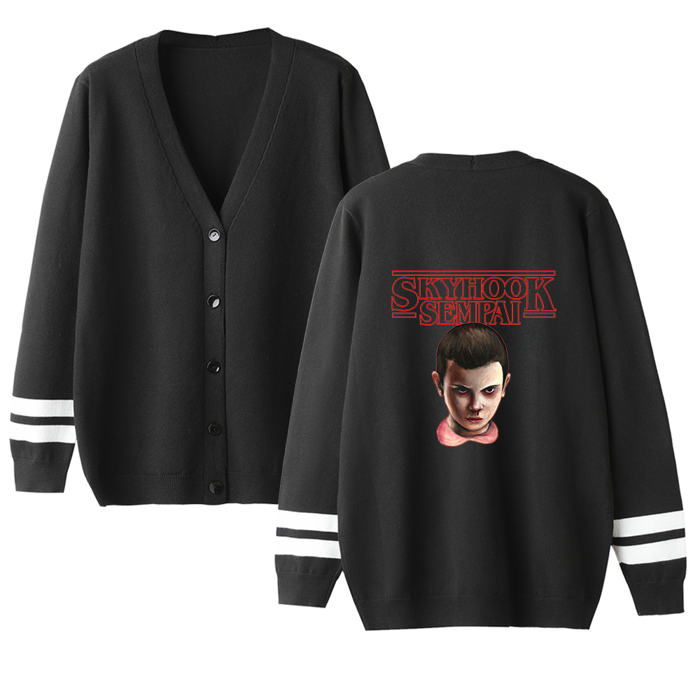 Stranger Things Sweater Men Women Cardigan Sweater Unisex Female Sweater Print Coats Autumn New Popular V-neck Knitting Sweater