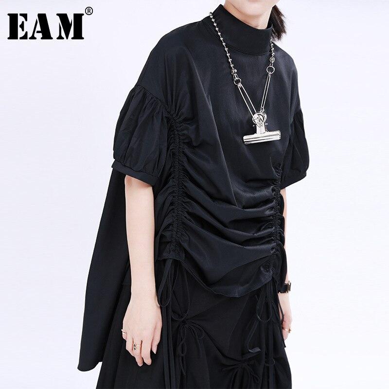 [EAM] Women 2 Ways Wear Drawstring Big Size Blouse New Stand Collar Half Sleeve Loose Fit Shirt Fashion Spring Summer 2020 1U655