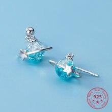 Женские серьги из чистого серебра 925 пробы с голубыми бусинами