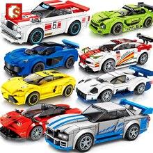 Sembo blok hız şampiyonları yarış araba modeli yapı taşları teknik şehir araç süper Racers spor inşaat oyuncakları arkadaşlar