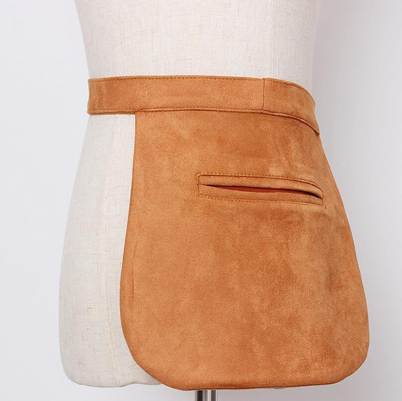 Women's Runway Fashion Pocket Faux Suede Leather Cummerbunds Female Dress Corsets Waistband Belts Decoration Wide Belt R1985