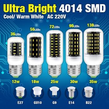 36/56/72/96/138LED E14 Corn Bulb E27 LED Lamps 220V B22 G9 GU10 High Power Lights SMD 4014 Lampada Led AC Lamp