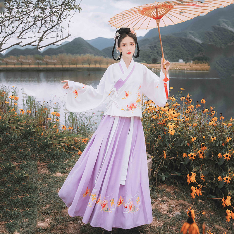 TraditionalChineseHanfu Women Fine Embroidery Tops Skirts Tang Qing Dynasty Performance Clothing  Folk Dance Costume DN4125