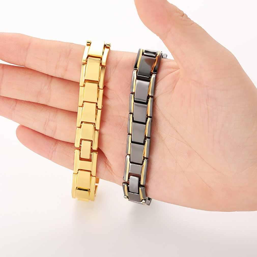 ヘルスケアツイスト健康磁気ブレスレット電源治療女性男性磁気ヘマタイトチタン鋼ブレスレット着脱式