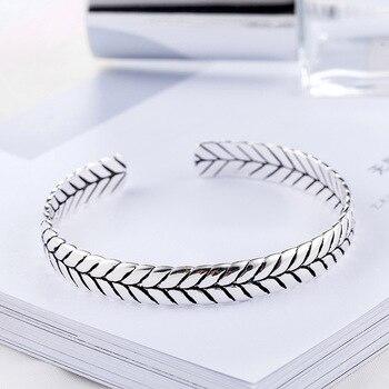Sterling Silver Geometric Pattern Woven Silver Bangle  1