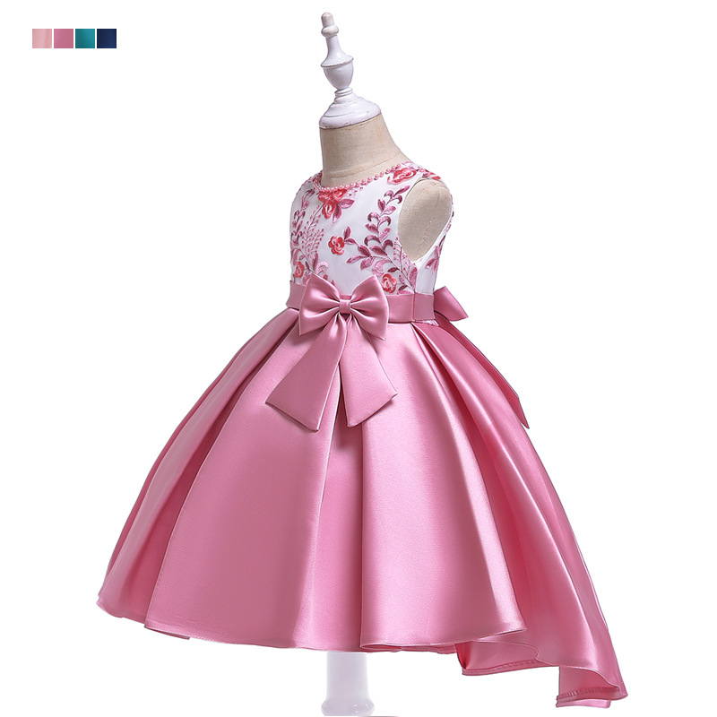 Europe And America New Style Tailing Formal Dress Girls Handmade Beaded Bracelet Embroidery Princess Dress Satin Twill Bow Swall