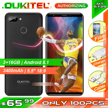 """OUKITEL C11 Pro 5.5"""" 18:9 MTK6739 Quad Core Face ID 4G LTE Smartphone 3G RAM 16G ROM 8MP+2MP/2MP Android 8.1 Mobile Phone"""