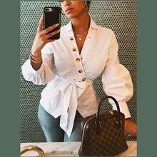 Echoine Autumn Women Sexy White Blouse Long Lantern sleeve