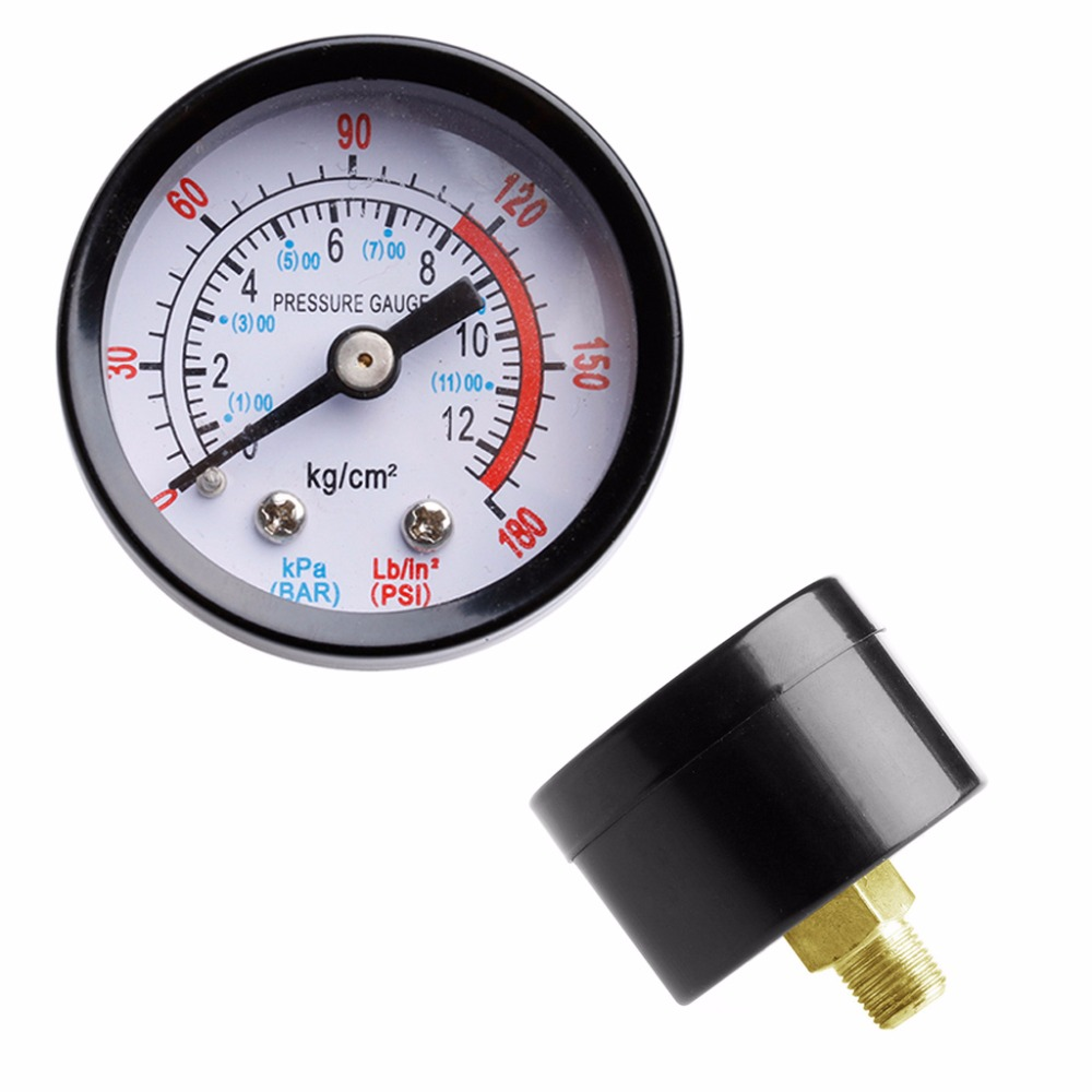Air Compressor Pneumatic Hydraulic Fluid Pressure Gauge 0-12Bar 0-180PSI Automobiles Maintenance Care Tool 2018 Car Accessories