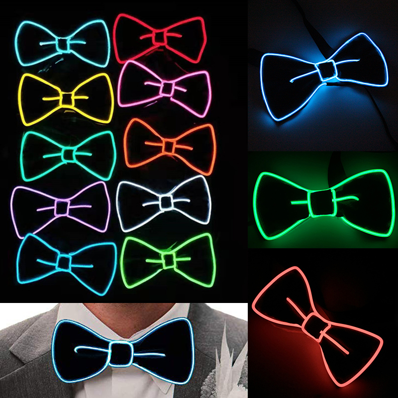 LED Light EL Bow Tie Fashion Bow Tie Perfect For Christmas Halloween New Years Music Festival Rave Party D30