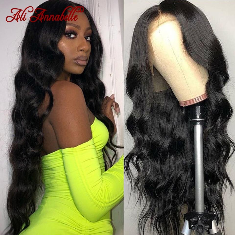 Onda do corpo brasileiro perucas frontal do laço pré arrancadas perucas de cabelo humano ali annabelle fechamento do laço peruca 13x4 frente do laço perucas de cabelo humano