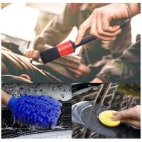 Waxing Sponge Car Detailing Brush Kit Boar Hair Vehicle Auto Engine Wheel Clean Brushes Car Wash Accessories 1