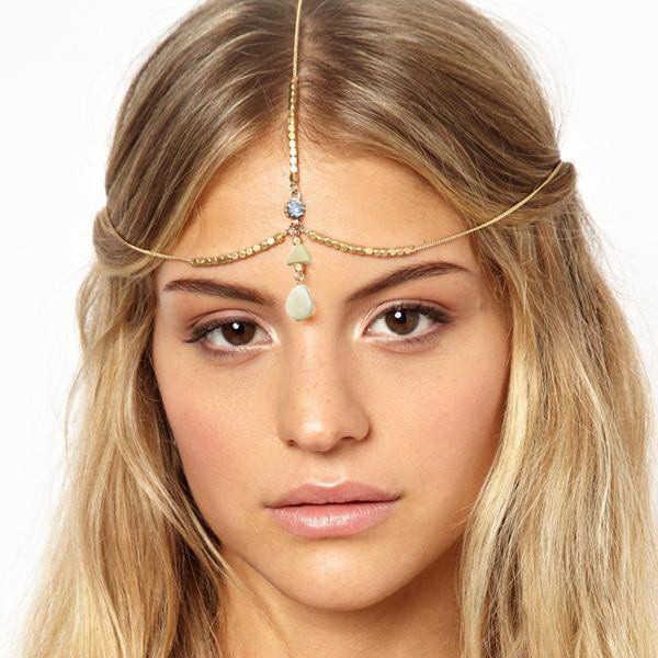 Inde bohème or métal feuilles gland strass tête chaîne cheveux bijoux pour femmes fête mariage cheveux accessoires casque