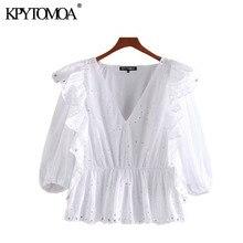 KPYTOMOA Women 2020 Sweet Fashion Hollow Out Embroidery Ruffles Blouses Vintage V Neck Half Sleeve F