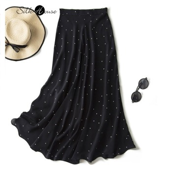 цена на High Waist Black and White Polkadot Silk Skirt French Romantic Small A- Shaped Slim Elegant 2020 Fashion New Style