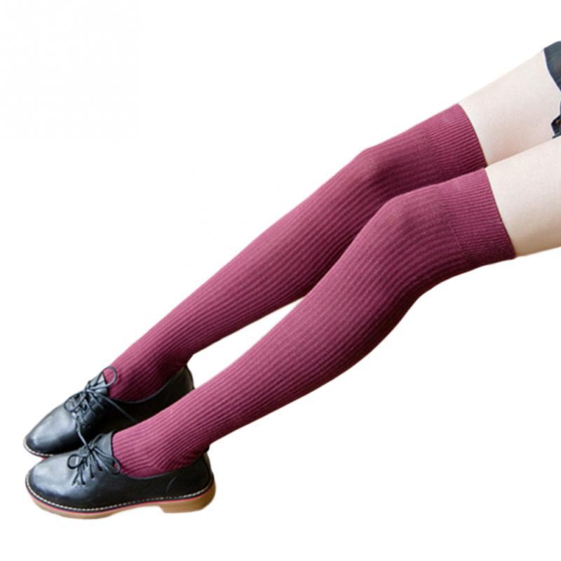 New Fashion Knitted Socks  Casual Cotton Thigh High Over Knee Stockings High Socks Girls Womens  Female Long Knee Sock 2019