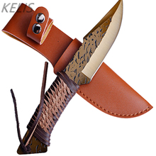 High Carbon Steel Forging Knife Tactical Hunting Straight Camping  Blade Knives Survival + Leather Case Military Knifes Couteau
