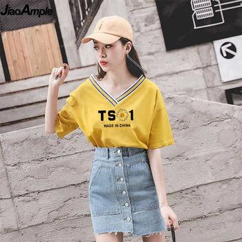 2020 Summer Students Girls Fashion V-neck Letter T-shirts Skirts Set Women Korean Casual Loose Tops Jeans Dress Clothing Sets 1