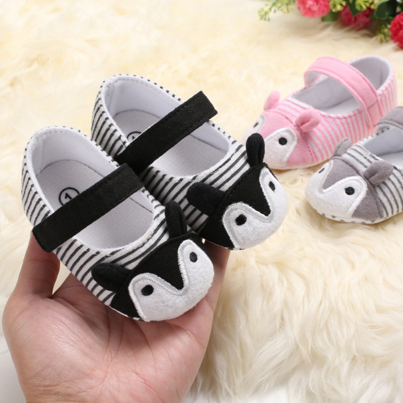 Baby Shoes Fox Striped Cute Baby Princess Toddler Shoes Infant Girls Anti-slip Soft Sole Crib Shoes First Walkers 0-18M