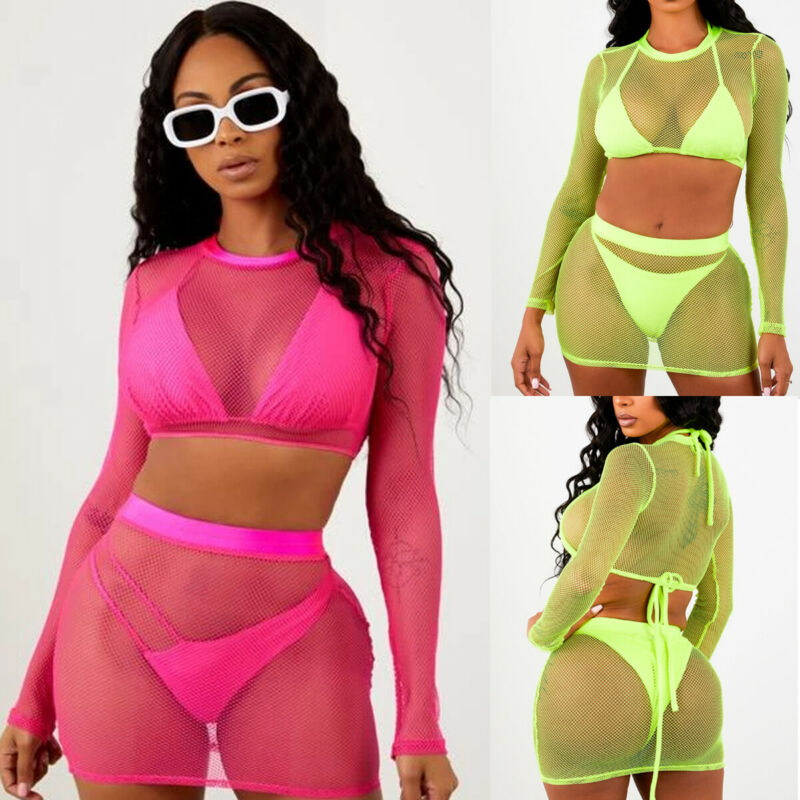 Two Pieces Women Long Sleeve O Neck Mesh Sheer Fishnet Crop Top T-Shirt And Skirt Set 2PCS Neon Green Top High Waist Skirt