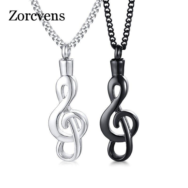 ZORCVENS Schwarz Silber Farbe Edelstahl Öffnende Musik Hinweis Urne Halsketten Für Frauen Männer Andenken Unisex Zubehör