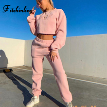 Fitshinling 2019 Winter Casual Tracksuit Women Clothing Letter Sweatshirt Sweatpants 2 Piece Matching Sets New Arrival Outfits
