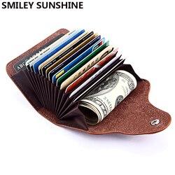 مبتسم الشمس المشرقة جلد طبيعي للجنسين الأعمال محفظة حمل بطاقات بطاقة بنك ائتمانية حافظة id حاملي حقيبة الرجال النساء حامل بطاقة