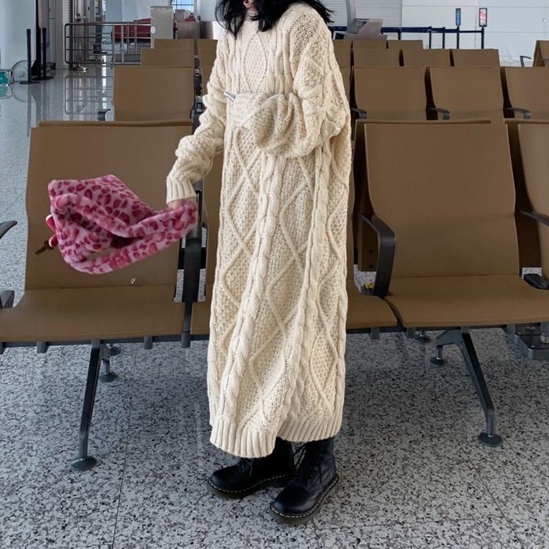 Automne hiver femmes Maxi longue robe pull grande taille à manches longues col rond robe ample décontracté dames solide robe tricotée