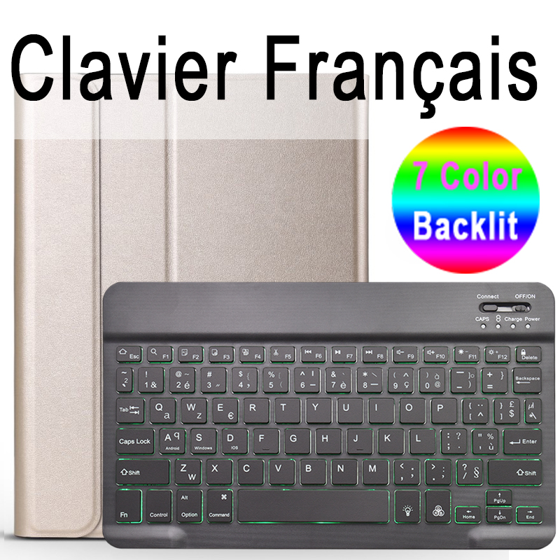 French Keyboard Pale Pink Keyboard Case for iPad Air 4th 4 10 9 2020 A2324 A2072 Cover 7 Colors Backlit