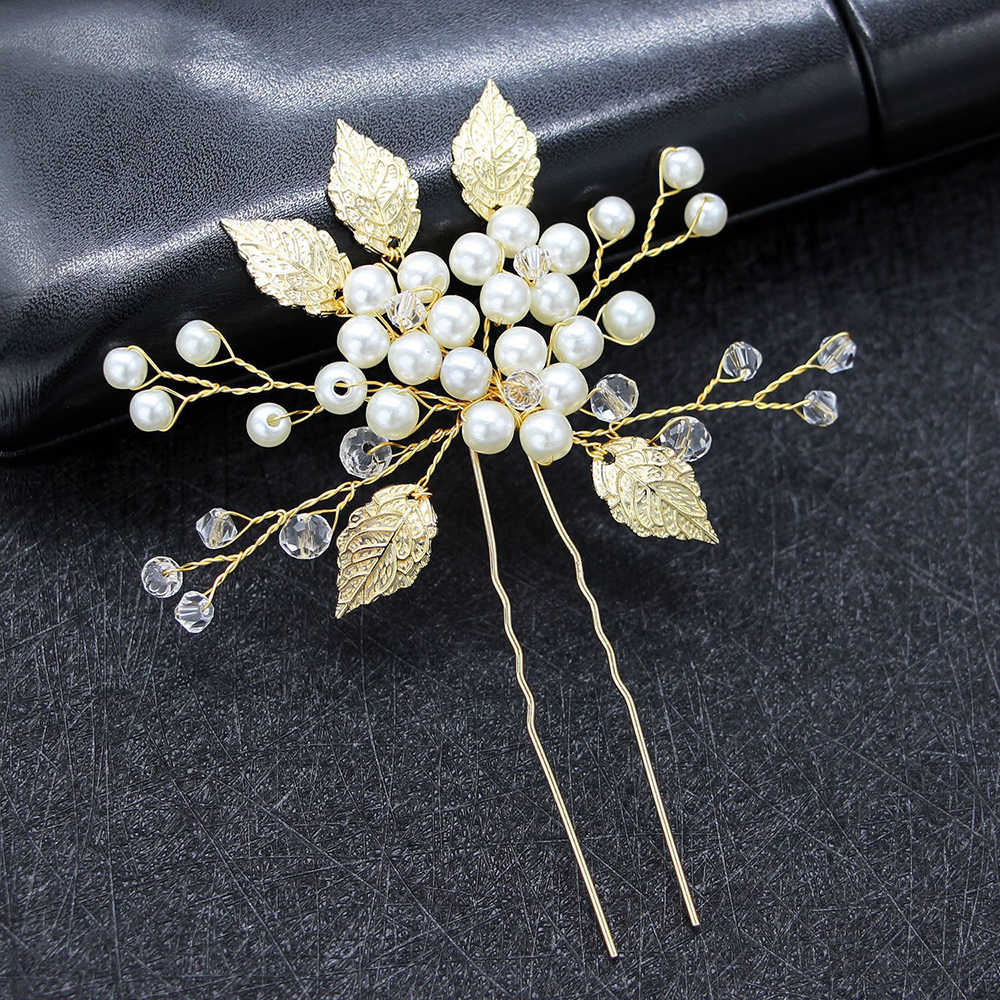 2pcs Wedding Bridal Leaves Hairpins Hair Clips Party Prom Hair Pins Gold Silver