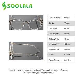 Image 4 - SOOLALA Cateye Lesebrille Frauen Luxus Strass Brillen Leopard Schwarz Lila Presbyopie Lesebrille + 0,5 zu 4,0